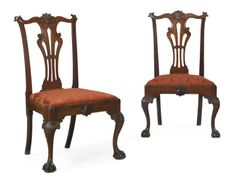 """A Pair of Chippendale Mahogany Side Chairs   Carving attributed to the """"Garvan"""" carver, Philadelphia, 1755-1765   Both chairs retain their original slip-seats, marked II and V   39½ in. high (2)"""