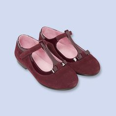 Suede patent t-strap shoes, girl