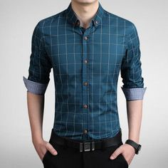 2015 100% High Quality Mens Dress Shirts Blue Shirt Men Causal Striped Shirt Men Camisa