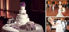 Clean white wedding cake with light purple and silver accents.