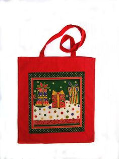 Christmas Presents Appplique Tote Bag by LookingGlassDesigns1, £6.00