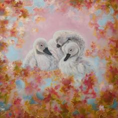 """With a silvery blue and cloud pink background, Rukh Swan Star, the triple Cygnets are surrounded by a burst of old gold, deep rose and pastel pink,  Each colour burst is carefully outlined in silver and gold. This is a 12x12"""" square premium quality giclée art print from an original oil painting by UK artist Ellisa Hague.  Other pieces in this series are available, please visit www.EllisaHagueOriginal.com or visit the Etsy Shop to view them."""