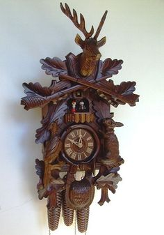 Model Hunters Cuckoo Clock With Live Animals Upright Musical Animated Dancers