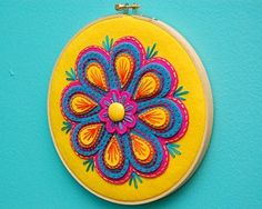 handmade Fiesta Embroidered Wall Hanging by SewSweetStitches on Etsy ... luv the bright felt embroidered flower in an embroidery hoop ...