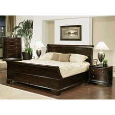 Complete the look of any bedroom with this traditional-style Kingston king-size bedroom set from Abbyson Living. This sleigh bed bedroom set includes a sturdy and dependable solid oak bed frame, two n King Size Bedroom Sets, Queen Bedroom, Home Bedroom, Bedroom Decor, Bedroom Suites, Bedroom Sofa, Design Bedroom, Master Bedrooms, Dream Bedroom