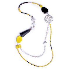 N°123 Mondrian's Lava & Pearl Translation into Lemon Shades Statement Necklace