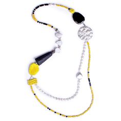 N°123 Mondrian's Lava & Pearl Translation into Lemon Shades Statement Necklace