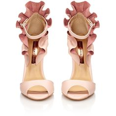CAMDEN Nude Peep Toe Leather Sandal With Ruffle Detail ❤ liked on Polyvore featuring shoes, sandals, genuine leather shoes, peep toe shoes, nude prom shoes, real leather shoes and evening wear shoes