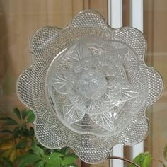 Garden Art With Old Dishes | Vintage Repurpose Glass Plate Flower garden art by ARTfulSalvage