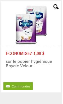 Économisez 1.00$ sur le papier hygiénique Royale Velour. Par la poste.