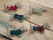 Textile Sausage dog Brooches all wrapped up warm for Autumn