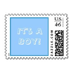 New Baby Blue Birth Announcement Stamps in Blue