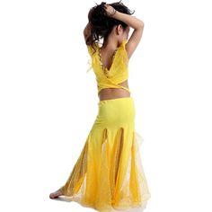 2016 Nuevas Muchachas de la Danza Del Vientre Traje 2 Unids Superior * Cabritos de La Falda Bollywood Trajes Rojo/Rosa/Amarillo/blanco/Azul Niños Conjunto de Danza Del Vientre