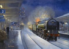 Fine Art Prints of Railway Scenes & Train Portraits - Roaring Through Retford Locomotive Engine, Diesel Locomotive, Steam Locomotive, Uk Rail, Steam Art, Steam Railway, Train Art, British Rail, Old Trains