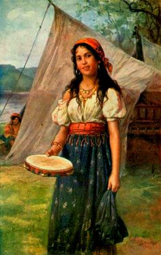 Gypsy Woman Art | Paintings with Roma. Gypsy tambourine