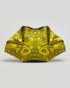 Alexander McQueen De-Manta Butterfly-Print Clutch Bag, Bright Yellow - Neiman Marcus