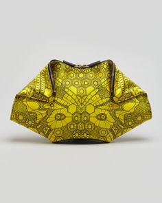 Alexander McQueen De-Manta Butterfly-Print Clutch Bag, Bright Yellow - Neiman Marcus