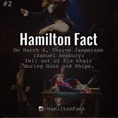 Hamilton fact On March Thayne Jasperson (Samuel Seabury) fell out of his chair during guns and ships Hamilton Broadway, Hamilton Musical, Alexander Hamilton, Samuel Seabury, Hamilton Lin Manuel Miranda, Hamilton Fanart, Fandoms, Musical Theatre, Theatre Plays