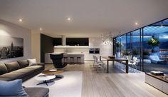 salon avec salle à manger, cuisine et terrasse