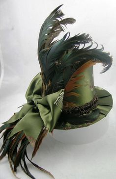 Olive and Brown Blossoms - Mini Top Hat. steampunk. This would have been perfect with my wedding dress.
