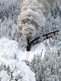 Stream train in the  snow