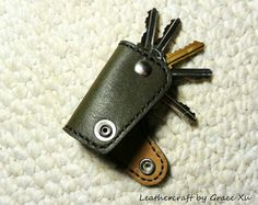 100% hand stitched handmade olive green cowhide leather key purse/ holder/ case