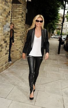 Pin for Later: 41 Reasons Why Kate Moss Is a Total Fashion Force 25. She Wears Leather Trousers Effortlessly Leather leggings are perfect on rock chick Kate. The black blazer, white tee, and big sunglasses ensured the look was simple and chic, not trashy.
