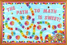Create a fun Candy Land themed bulletin board with sweet accessories from Mardel! #ClassroomDecorations #Teacher #BulletinBoard
