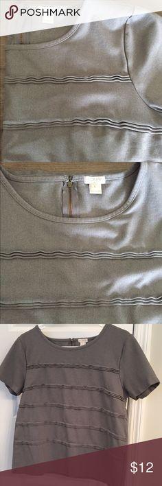 Selling this JCrew Pleated Stripe Ponte Top in Grey on Poshmark! My username is: ashphrodite. #shopmycloset #poshmark #fashion #shopping #style #forsale #J. Crew #Tops