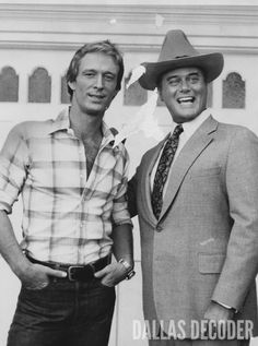 "In this 1980 publicity shot, Ted Shackelford and Larry Hagman are seen in the costumes they wear in ""Community Spirit,"" a first-season ""Knots Landing"" episode. Relive more memories at DallasDecoder.com."