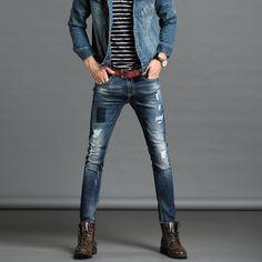 New Patchwork Arrival hip-hop Men Jeans masculina Casual Denim distressed Men's Slim Jeans pants Biker jeans skinny Jeans  #Affiliate