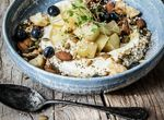 NUTTY HONEY AND CIDER POACHED APPLE WITH NATURAL YOGHURT, PINE NUTS AND CHIA SEEDS