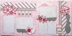 This pre-made layout features:  ~ 2 pages  ~ Beautiful pinks, reds, black and grey  ~ 5 photo mats of various sizes  ~ Embellishments include