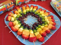 Rainbow fruit kabobs for nephling's 2nd bday x