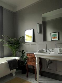 Home Interior Salas Walls are Knightsbridge by Little Greene 10 Beautiful Rooms - Mad About The House Grey Bathrooms Designs, Yellow Bathrooms, Dream Bathrooms, Beautiful Bathrooms, Better Bathrooms, Country Bathrooms, Gray And White Bathroom, White Bathroom Decor, Bathroom Interior Design