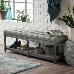Belham Living Reagan Tufted Bench with Shelf - 5123 Indoor Storage Bench, Storage Bench Seating, Bench With Storage, Living Room Shelves, Accent Chairs For Living Room, Upholstered Bench Seat, Accent Bench, How To Store Shoes, Entry Bench
