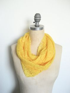 Bright Yellow Lace Infinity Scarf - The Accessory Collective - Burlington Coat Factory - Compare Price 16 Dollars - Original Price 8