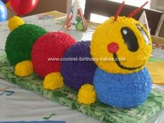Homemade Baby Einstein Caterpillar Cake: For my son& first birthday I found this site and was inspired by the other Baby Einstein Caterpillar cakes. Two Wilton Ball pans, Cool Birthday Cakes, 1st Boy Birthday, Diy Birthday, 1st Birthday Parties, Baby Einstein Party, Caterpillar Cake, Hungry Caterpillar, Homemade Baby, Cool Baby Stuff