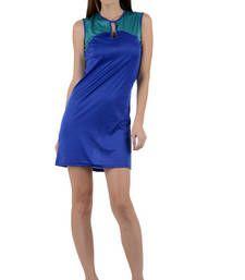 Buy Blue plain viscose dress western-wear online
