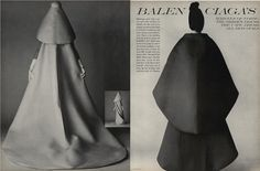 Wedding dress and evening dress by Balenciaga. David Bailey, Vogue, July 1, 1967, 80-81.