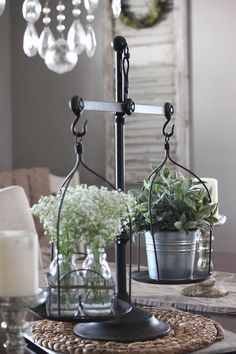 Old Kitchen Scale with Herbs and Flowers