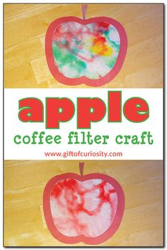 Apple coffee filter craft is part of Fall crafts Coffee Filters - This simple apple craft for kids uses a coffee filter and the magic of chromatography to create stunning apple artwork September Crafts, September Preschool, September Themes, Preschool Projects, Daycare Crafts, Toddler Crafts, Preschool Apple Theme, Pumpkin Preschool Crafts, Preschool Apple Activities