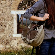 So cute, convertible handbag/backpack - Ossa, in light beige-haki color with dark brown leather details