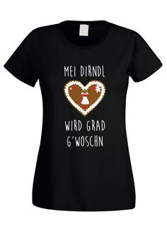 b7cc7b968077 Damen T-Shirt - Mei Dirndl wird grad g´woschn (mit Dirndl) schwarz-weiss XL