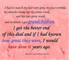 grandchildren quotes I'm not quite that old but I certainly wish they would have been here a long time ago! Cute Quotes, Great Quotes, Quotes About Grandchildren, Excellence Quotes, Grandma And Grandpa, Grandmother Poem, Face Wrinkles, Long Time Ago, Family Love