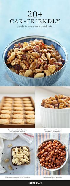 Sometimes the journey is the destination, so if you've ultimately got your sights set on good eats, then don't overlook the ever-important car snacks. Here are a few nibbles that are just as appetizing as they are portable and transport-resistant. Road Trip Food, Road Trips, Good Road Trip Snacks, Car Trip Snacks, Vacation Snacks, Snacks List, Lunch Snacks, Spicy Almonds, Portable Snacks