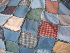 Ragged Denim Quilt - now I know what to do with my old jeans and fabric scraps.  Eventually will be a great picnic blanket.