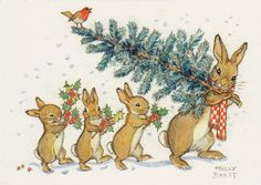 A rabbit carrying a christmas tree with her three children. - Illustration by Molly Brett. Rabbit Illustration, Autumn Illustration, Christmas Illustration, Vintage Christmas Cards, Christmas Images, Christmas Art, Illustration Mignonne, Peter Rabbit And Friends, Bunny Art