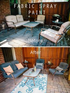 Use Fabric Spray Paint to update your Outdoor Furniture! The perfect, easy way to makeover your patio or deck! Easy and inexpensive!