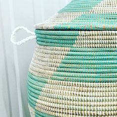 One of our favourites handmade, handwoven storage basket we call our Alibaba...this beauty in minty green.
